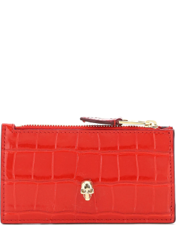 ALEXANDER MCQUEEN SKULL CARD HOLDER POUCH OS Red Leather
