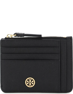 TORY BURCH ROBINSON CARD HOLDER POUCH OS Black Leather