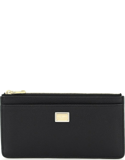 DOLCE & GABBANA CARD HOLDER POUCH IN HAMMERED LEATHER OS Black Leather