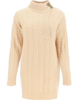 MAX MARA MEDEA CABLE KNIT WOOL AND CASHMERE SWEATER XS Beige Wool, Cashmere