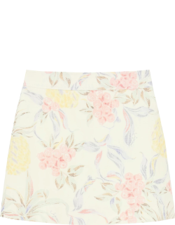 SEE BY CHLOE MINI SKIRT WITH SPRING FRUITS PRINT 34 White, Yellow, Pink Linen
