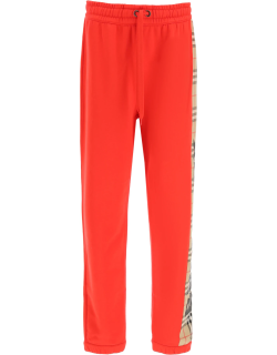 BURBERRY RAINE TROUSERS WITH CHECK INSERT XS Red, Beige, Black Cotton