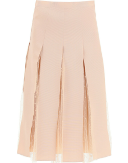 RED VALENTINO MIDI SKIRT IN GROSGRAIN AND TULLE 38 Pink