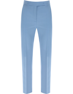 MAX MARA TEMPO TROUSERS IN MOHAIR WOOL 38 Blue, Light blue Wool