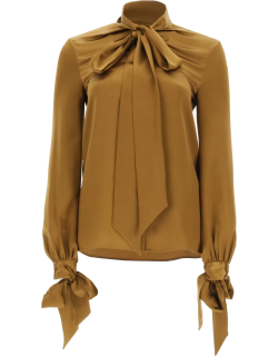SAINT LAURENT SATIN BLOUSE WITH BOW 38 Brown, Gold Silk