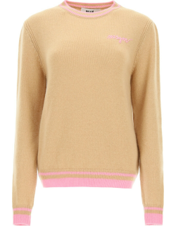 MSGM SWEATER WITH LOGO EMBROIDERY XS Beige, Pink Wool, Cashmere