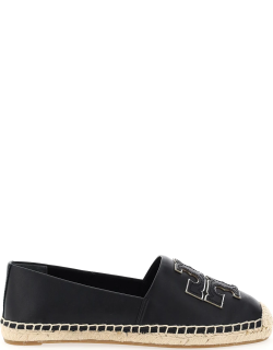 TORY BURCH INES LEATHER ESPADRILLES 5 Black, Silver Leather
