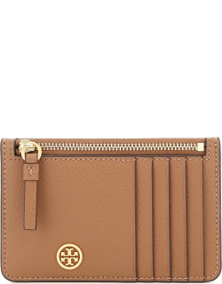 TORY BURCH WALKER TOP ZIP CARD HOLDER POUCH OS Brown Leather