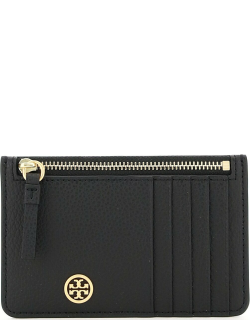 TORY BURCH WALKER TOP ZIP CARD HOLDER POUCH OS Black Leather