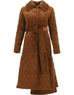 A.W.A.K.E. MODE QUILTED CORDUROY COAT 38 Brown Cotton