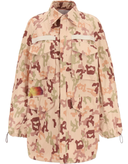 THE ATTICO CAMOUFLAGE DEXTER JACKET M Beige, Green, Brown Technical