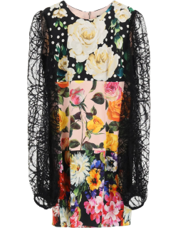 DOLCE & GABBANA MINI DRESS WITH LACE SLEEVES 42 Black, Pink, Yellow