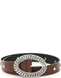 ALESSANDRA RICH LEATHER BELT CHAIN AND CRYSTAL BUCKLE S Brown Leather