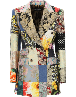 DOLCE & GABBANA DOUBLE-BREASTED PATCHWORK BLAZER 40 Gold, Black, Pink Cotton