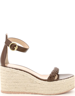 GIANVITO ROSSI LEATHER SANDALS WITH ROPE PLATFORM 36 Brown Leather