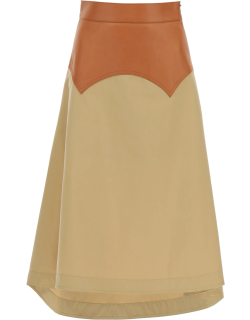 LOEWE LEATHER AND COTTON MIDI SKIRT 36 Beige, Brown Cotton, Leather