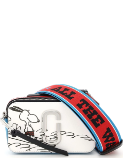 MARC JACOBS (THE) THE SNAPSHOT SMALL CAMERA BAG PEANUTS X MARC JACOBS COLLABORATION OS White, Light blue, Red Leather
