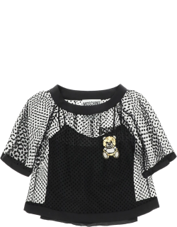 MOSCHINO TULLE PLUMETIS TOP TEDDY EMBROIDERY 42 Black Silk