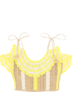 MSGM KNIT CROPPED TOP M White, Beige, Yellow Cotton