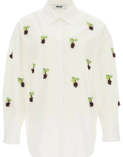MSGM SHIRT WITH EMBROIDERIES AND BUNCHES 40 White, Green Cotton