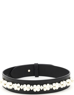 SIMONE ROCHA LEATHER BELT WITH PEARLS M/L Black, White Leather
