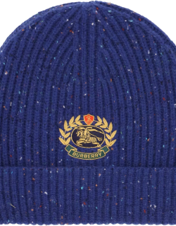 BURBERRY BEANIE HAT WITH LOGO EMBROIDERY OS Blue Wool, Cashmere