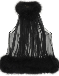 SAINT LAURENT TOP WITH FEATHERS 36 Black Silk