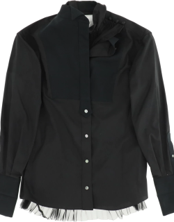 SACAI SHIRT WITH PLEATED INSERT 1 Black Cotton