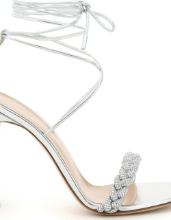 GIANVITO ROSSI LEOMI CRYSTAL SANDALS 37 Silver Leather