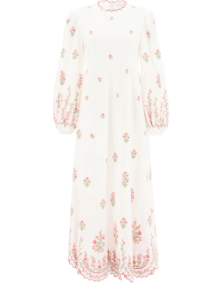 ZIMMERMANN POPPY DRESS WITH FLORAL EMBROIDERY 0 White, Pink, Green Linen