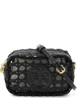 TORY BURCH PERRY BOMBE' WOVEN MINI CAMERA BAG OS Black Leather