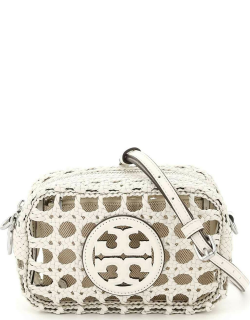TORY BURCH PERRY BOMBE' WOVEN MINI CAMERA BAG OS White Leather
