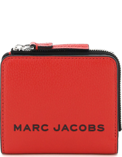 MARC JACOBS (THE) LOGO PRINT COMPACT WALLET OS Red, Black Leather