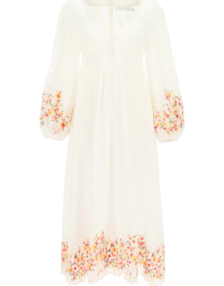 ZIMMERMANN MAE DRESS WITH FLORAL EMBROIDERY 0 White, Red, Yellow Linen
