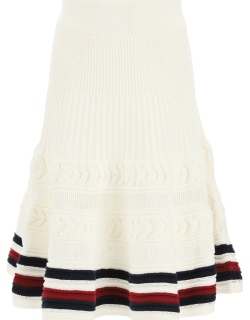 TOMMY HILFIGER COLLECTION CRICKET CABLE KNITTED SKIRT M White Cotton, Synthetic