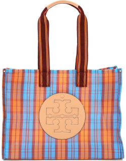 TORY BURCH ELLA MESH MARKET TOTE OS Orange, Blue, Red Synthetic