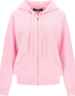 VERSACE WOOL AND CASHMERE HOODIE 40 Pink Wool