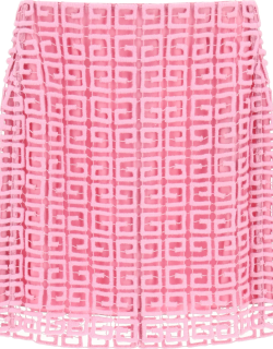 GIVENCHY 4G GUIPURE MINI SKIRT 36 Pink Wool