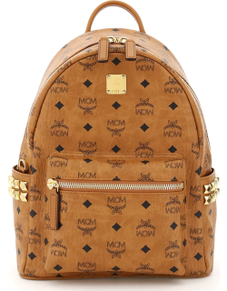 MCM STARK VISETOS BACKPACK WITH SIDE STUDS OS Brown, Black Cotton, Leather