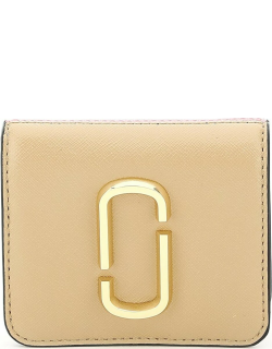 MARC JACOBS (THE) SNAPSHOT MINI WALLET WITH COIN POCKET OS Beige, Pink, White Leather