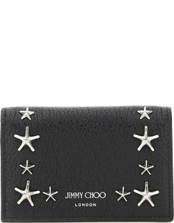 JIMMY CHOO MULTIPOCKETS STAR STUDS CARD HOLDER OS Leather