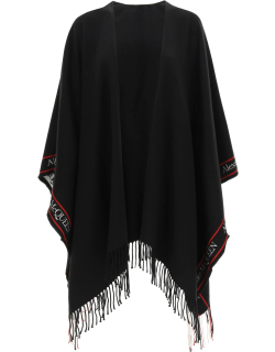 ALEXANDER MCQUEEN CAPE WITH JACQUARD LOGO OS Black Wool, Cashmere