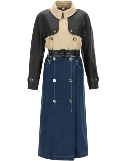 BURBERRY DENIM TRENCH COAT WITH INSERTS 6 Blue, Black, Beige Cotton, Leather