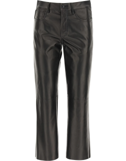 DROME CROPPED FIVE POCKET TROUSERS S Black Leather