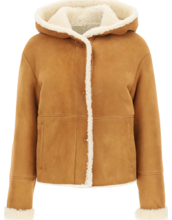 DROME SUEDE AND SHEARLING COAT S Brown, White Leather, Fur