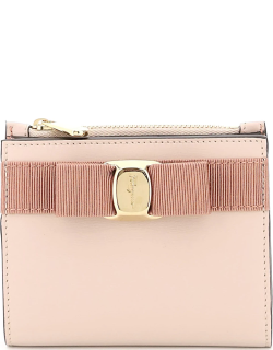 SALVATORE FERRAGAMO VARA BOW COMPACT WALLET OS Pink Leather