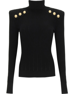 BALMAIN TURTLENECK SWEATER WITH GOLD BUTTONS 36 Black