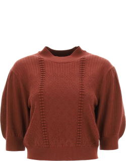 SEE BY CHLOE PUFF-SLEEVES SWEATER XS Red Wool, Cotton