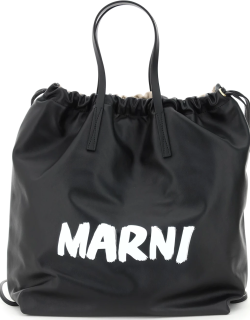 MARNI GUSSET BACKPACK WITH LOGO OS Beige, Black, White Leather