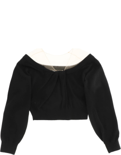 ALEXANDER WANG CROPPED SWEATER WITH TULLE S Black, Pink Wool